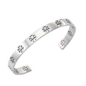 Tory Burch Silver Pierced Logo T Cuff Bracelet
